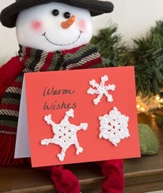 Snowflake Holiday Card Crochet Pattern | Red Heart