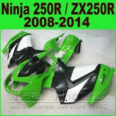 301.76$  Buy here - Fit Ninja 250R Fairing kit 2008 2009 2010 - 2014 white green Kawasaki ZX 250 EX250 body kits 08 09 10 11 12 13 14 fairings set  #shopstyle