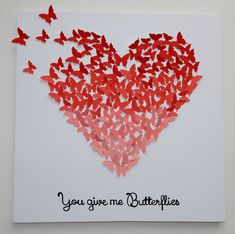 3D Butterfly Heart Art Hand-made with Quote by MyHappyHeartArt Sweet Valentine's Day Gift, Nursery Decor, Children's Room Decor, Girl's Room