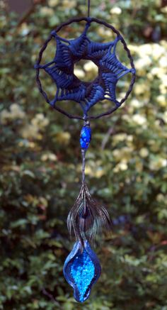 dark blue crystal unique peacock dreamcatcher feathers black drusy druzy spiral one of a kind home w