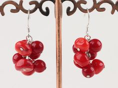 Lovely Cluster Style Red Coral Dangle Earrings With Fish Hook