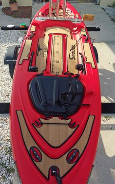 """Kayak angler Kevin just installed a custom SeaDek kit on his Diablo Amigo. This Red Amigo features Mocha over Black nonskid pads with 32"""" fish ruler and routed logos."""