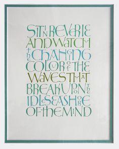 """""""Blue""""   Calligraphy work of Gillian Hazeldine"""