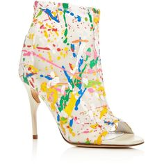 Jerome C. Rousseau Clothilde Paint Splatter Open Toe High Heel Booties (1,105 CAD) ❤ liked on Polyvore featuring shoes, boots, ankle booties, open toe boots, open toe booties, white booties, open-toe boots and white boots