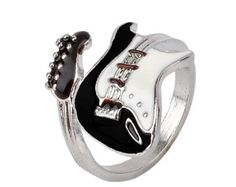 Cheap guitar ring, Buy Quality black ring directly from China ring style Suppliers: Meetcute Personalized Style Punk Style Bright Colorful Glazed Guitar Ring White And Black Ring Musical Tools Bijoux Jewelry Music Jewelry, Cute Jewelry, Jewelry Accessories, Women Jewelry, Jewlery, Jewelry Rings, Unique Jewelry, Mode Punk, Steel Guitar