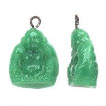 Vintage Japanese Glass Pendant, Sitting Buddha 14x16mm, 1 Piece, Jade Green