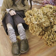 【 秋冬 】コーデに合わせて数本あるとベター。【送料無料】【040019】ウール ロング ソックス