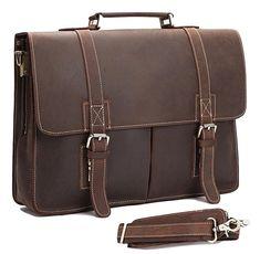 Vintage Crazy horse Genuine Leather men Briefcase Business bag Men Leather  briefcase laptop Bag male Tote e98202bd65
