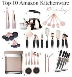 Make way for kitchen linens! Rose Gold Kitchen Accessories, Home Decor Accessories, Wattle And Daub, Copper Kitchen Decor, Cooking Utensils Set, Kitchen Utensils, Rose Gold Kitchen Appliances, Amazon Beauty Products, Kitchen Themes