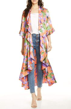 New Alice Olivia Dandi Floral Print Reversible Ruffle Duster. womens fashion dresses from top store Fashion Sewing, All Fashion, Women's Fashion Dresses, Boho Fashion, Maxi Dresses, Fashion Clothes, Womens Fashion, Casual Dresses, Summer Dresses