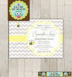 Baby Shower InvitationBee Bumble Bees Momma To by upupdiapercakes, $14.00