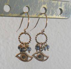 Sterling Silver and Labradorite Evil Eye Earrings by bedorah, $24.00