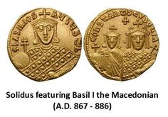 Solidus featuring Basil I (obverse) with Constantine and Eudocia (reverse), A.D. 867 - 886