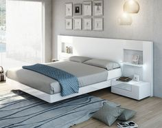 Contemporary Garcia Sabate Altea Bed in Matt White & High Gloss White Opt Bedside Cabinets