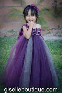 Flower girl dress. Eggplant with Gray tutu by giselleboutique