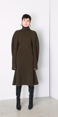 Balenciaga Flared Turtleneck A-Line Dress