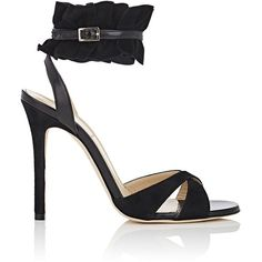 Alexander White Women's Suede & Leather Ruffled-Ankle-Strap Sandals ($369) ❤ liked on Polyvore featuring shoes, sandals, black, black high heel shoes, ankle strap high heel sandals, black sandals, open toe sandals and black stilettos