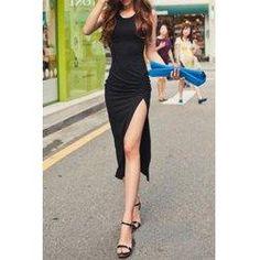 trendsgal.com - Trendsgal Scoop Neck Sleeveless Pure Color High Slit Dress - AdoreWe.com