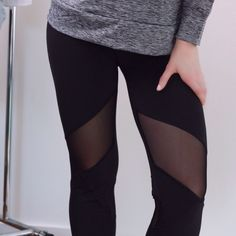 """Mesh Workout Pants▫️1 Day Sale! Back in stock!!! Get yours before they sell out again!👟Hottest style workout leggings with a sexy mesh accent above the knee in front + below back of the knee. Stretchy + comfortable, easy to move in. Cute for the gym + for lounging ☺️ True to size. Stretch waistband + back zipper pocket. Flattering 8"""" rise. 87% poly 13% elastane. Sleek material. New with tag. Sizes S, M, L, XL available. Gray top also for sale. Price is firm, no offers. Thank you! Boutique…"""