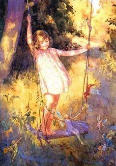 My Fairy Swing by Margaret Tarrant from 1915 Vintage Fairies, Vintage Art, Vintage Roses, Fairytale Art, Flower Fairies, Fairy Art, Claude Monet, Illustrators, Fantasy Art
