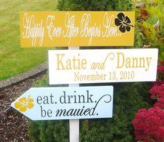 Signs at a wedding