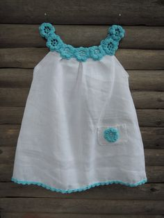 This is an original handmade Thebabemuse organic dress with crochet collar Tiffany blue. I make dresses for my sketches from certified organic