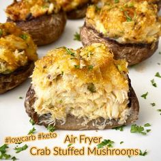 These air fryer crab stuffed mushrooms are the perfect appetizer whether you're low-carb/keto or not. They're also made in under 30 minutes. There are 3 main ingredients in the stuffing: crab, mayo and Parmesan cheese. I have talked about my distaste for mayonnaise before. Continue reading Air Fryer Crab Stuffed Mushrooms (Low-Carb, Keto) at Fit Slow Cooker Queen. Crab Stuffed Mushrooms, Low Carb Keto, Crockpot Recipes, Snacks Recipes, Low Carb Recipes, Healthy Snacks, Baked Potato, Queens Food, Salmon Burgers