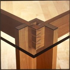Beautiful Joinery Cherry Dining Room Table with Glass Top | WoodworkerZ.com