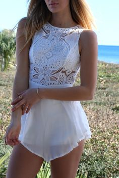 Warm Smile Skater Off White Lace Romper                                                                                                                                                                                 More