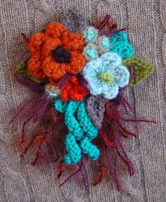 Crochet Corsage Fall Harvest Colors  by meekssandygirl, via Flickr