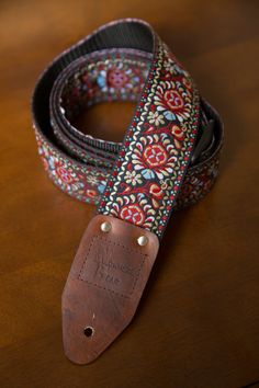 Red/Gold/Blue Vintagestyled Guitar Strap by nowherebearstraps, $65.00