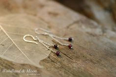 Garnet earrings 925 sterling silver chain and by WoodlandAndMoon