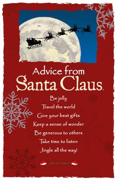 Advice from Santa Claus Frameable Art Card Advice Quotes, Life Advice, Good Advice, Me Quotes, Santa Claus Quotes, Santa Quotes, Santa Clause, Card Sayings, Christmas Quotes