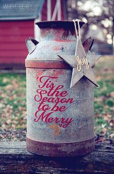 Seasonal medal milk can - rustic & cute! #holidaydecor #festive #joy