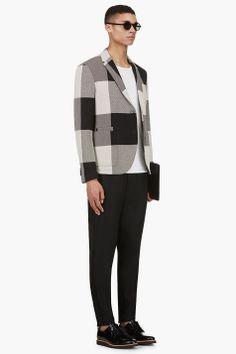 NEIL BARRETT Black & White Woven Check Blazer