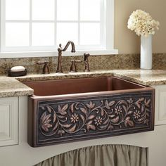 "25"" Vine Design Copper Farmhouse Sink"