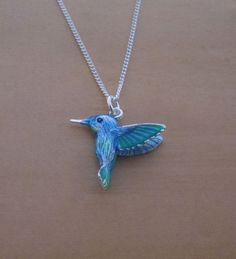 925 Sterling Silver Solid Blue Hummingbird by SilverEngravedGifts