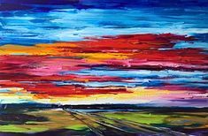 On the Road to Find Out, oil sunset painting by Kimberly Kiel | Effusion Art Gallery + Cast Glass Studio, Invermere BC Sky Painting, Painting For Kids, Dance Paintings, Landscape Paintings, Modern Art, Contemporary Art, Wedding Painting, Cast Glass, Mountain Paintings