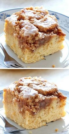 Easy Cinnamon Roll Coffee Cake is simple and quick recipe for delicious, homemade coffee cake from scratch, with ingredients that you already have in pantry. Mini Desserts, Just Desserts, Easy Cake Recipes, Baking Recipes, Dessert Recipes, Quick Recipes For Dinner, Breakfast Cake, Breakfast Dishes, Food Cakes