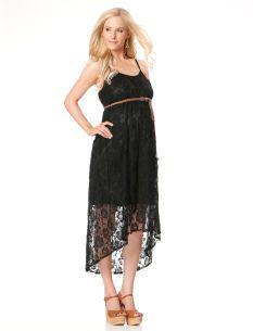 Spaghetti Strap High-low Hem Maternity Maxi Dress