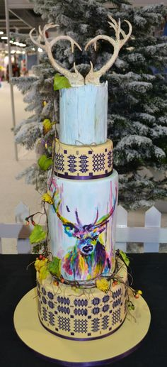 Watercolour stag wedding cake at the Cake and Bake Show