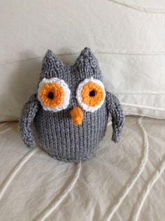 Knitted Owl Stuffed Toy  Owl Toy  Stuffed by EightLittleFingers