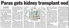 Paras gets Kidney Transplant nod - An excerpt from Telegraph    India! The Telegraph  Bihar Patna