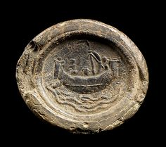 Impression from a Seal Depicting a Ship at Sea, 4th–5th century. India, probably Bengal or Andhra Pradesh. Lent by National Museum, Bangkok (2309) | In eastern India during the first millennium, clay seals may have served as warrants or guarantees for the consignment of goods. #LostKingdoms