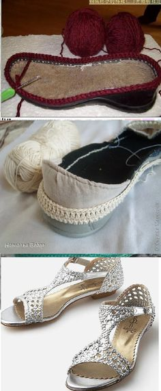 Discover thousands of images about Crochet Leather Heels Free Pattern - DIY Ways Refashion Heels Instructions Crochet Sandals, Crochet Boots, Diy Crochet, Crochet Clothes, Knit Shoes, Sock Shoes, Crochet Flip Flops, Crochet Shoes Pattern, Creative Shoes