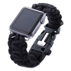 Shop for iPM Weave Replacement Watch Band with Whistle for Apple Watch. Get free delivery On EVERYTHING* Overstock - Your Online Wearable Technology Store! Army Watches, Watches For Men, Gps Watches, Paracord Watch, 550 Paracord, Apple Watch Accessories, Replacement Watch Bands, Apple Watch Bands 42mm, Wearable Technology