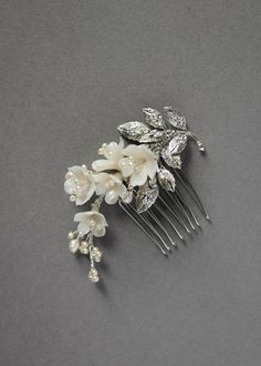 Wedding Hair Accessories MARQUISE side wedding comb in silver and ivory Headpiece Wedding, Wedding Veils, Bridal Headpieces, Wedding Garters, Wedding Shoes, Wedding Dresses, Wedding Accessories, Hair Accessories, Hair Trends 2018