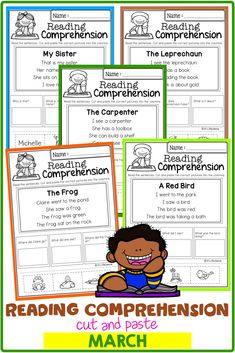 March Reading Comprehension Cut and Paste has 20 pages of reading comprehension with cut and paste. Children will answer the questions by cut and paste the correct picture into the question columns. Preschool | Preschool Worksheets | Kindergarten | Kindergarten Worksheets | First Grade | First Grade Worksheets | Reading| Reading Comprehension | March Reading Comprehension Cut and Paste | Reading Comprehension Literacy Centers | Printables | Worksheets Reading Resources, Reading Strategies, Classroom Resources, Reading Skills, Reading Comprehension, First Grade Worksheets, Kindergarten Worksheets, Reading Centers, Literacy Centers