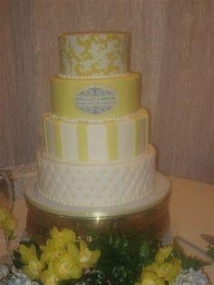 Yellow and Gray wedding cake