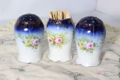 RARE IRIS Rosenthal Salt and Pepper Shaker and Toothpick Holder Set / Antique 1900's Monbijou Floral Hand Painted Germany by TheTableSetting on Etsy #rosenthal, #iris